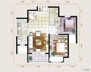 华业东方玫瑰2室2厅1卫88平方米户型图