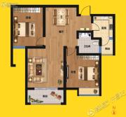 尚景园2室2厅1卫90平方米户型图