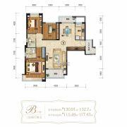 仁恒滨海半岛3室2厅2卫130--132平方米户型图