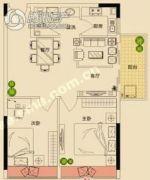 瑞都豪庭2室2厅1卫72平方米户型图