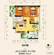 上城铂雍汇3室2厅1卫91平方米户型图