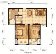 江山花园2室1厅1卫91平方米户型图