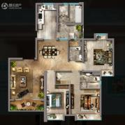 嘉汇城2室2厅2卫144平方米户型图