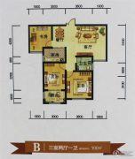 鑫源尚城3室2厅1卫100平方米户型图