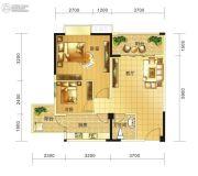 春天印象二期2室1厅1卫66平方米户型图