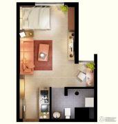 文化空间1室1厅1卫38平方米户型图