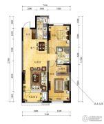 中海国际社区2室2厅1卫96平方米户型图