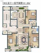 绿城・御京府东区3室2厅2卫161平方米户型图