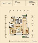 欧堡利亚尊园3室2厅2卫131平方米户型图