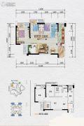 泽科弹子石中心2室2厅1卫61平方米户型图
