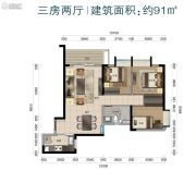 华标峰湖御境3室2厅1卫91平方米户型图