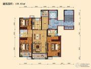 景山名门3室2厅2卫139平方米户型图