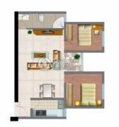 文化空间2室1厅1卫95平方米户型图
