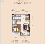 茶山碧桂园1室2厅1卫0平方米户型图