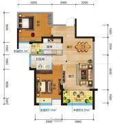 清江润城・悦邸(四期)2室2厅1卫89平方米户型图