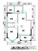 君尚一品小区二期2室2厅1卫89平方米户型图