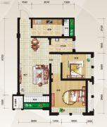 泛宇惠港新城2室2厅1卫81平方米户型图