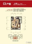 福晟钱隆城2室2厅1卫60平方米户型图