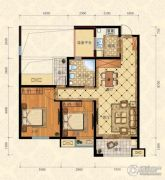 城南春天2室2厅1卫90平方米户型图