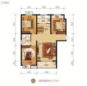 众美凤凰府3室2厅1卫117平方米户型图