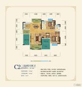 洞庭美域3室2厅2卫127平方米户型图
