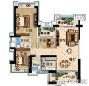 雅居乐万象郡3室2厅2卫115平方米户型图