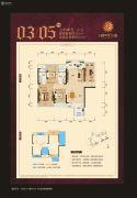 天健西班牙小镇3室2厅2卫104平方米户型图