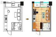 中润88号1室0厅1卫28平方米户型图