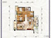 云景华庭3室2厅2卫108平方米户型图