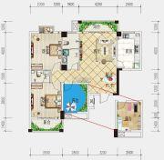 港锦新城3室2厅2卫116平方米户型图