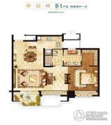 世茂天宸2室2厅1卫90平方米户型图