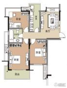 江雁德水香林3室1厅1卫85平方米户型图