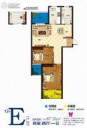 澳城苑库克船长2室2厅1卫87平方米户型图