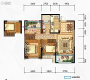 奥克斯缔壹城3室2厅1卫91平方米户型图
