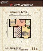 建发・左岸欣城2室2厅1卫61平方米户型图