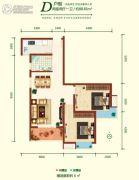融尚中央住区2室2厅1卫88平方米户型图