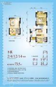 北城阳光尚线2室2厅1卫0平方米户型图