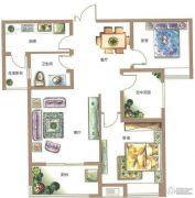 锦江城市花园2室2厅1卫99平方米户型图