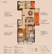 金科世界城3室2厅2卫124平方米户型图