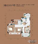同安・福龙湾3室2厅1卫87平方米户型图
