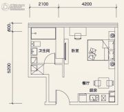 广州绿地中央广场1室1厅1卫46平方米户型图