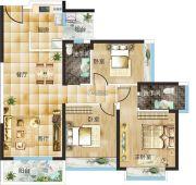 汇美豪庭3室2厅2卫109平方米户型图