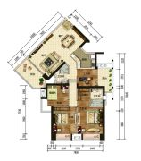 利和金丰公寓4室2厅2卫151平方米户型图
