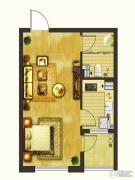 楚盛现代城1室1厅1卫47平方米户型图