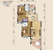 华商国际欧洲城3室2厅2卫124平方米户型图