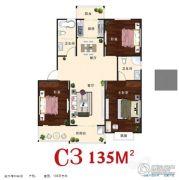 汇仙湖・金水湾3室2厅2卫135平方米户型图