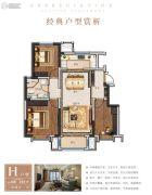 众美青城3室2厅1卫100--102平方米户型图