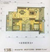 洲际豪庭2室2厅1卫75平方米户型图