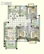 世纪嘉城3室2厅2卫119平方米户型图