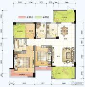 春风紫金港2室2厅2卫107平方米户型图